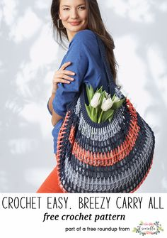 Crochet this easy breezy carry all farmers market bag from my crochet bags and toes for spring free pattern roundup!