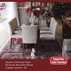 Encantadora sala de jantar criada pela Bem Estar Móveis com nosso Patchwork Pique: Pura sofisticação! Bem Estar Móveis - Av. Maurício Cardoso, 706. #Decor #TapetesSaoCarlos