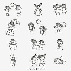 Disegno A Mano Cartoon Bambini Felici Che Giocano Disegno Stick