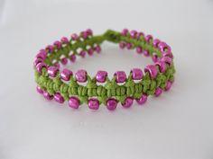 PATTERN Beginner's Green & Pink Macrame Bracelet Tutorial. $3.99, via Etsy.