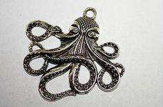 one pewter alloy octopus PendantsAntique Silver by sedonastonesllc, $0.55