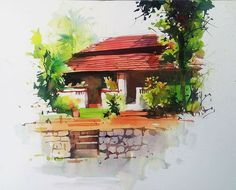 Landscaping Around House Dream Homes - - - Fantasy Landscaping Sketch Landscape Architecture Drawing, Watercolor Architecture, Watercolor Landscape Paintings, Watercolour Painting, Landscape Design, Watercolor Water, Easy Watercolor, Indian Art Paintings, Nature Drawing