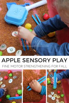 Add some fine motor to your fall apple sensory bin! Preschoolers love all the textures involved!