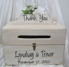 Large Rustic Wedding Card Box Thank You Sign Keepsake Chest Antique White Personalized Custom Wooden Country style