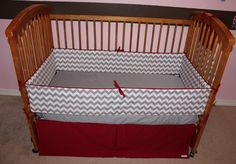 gray and red chevron baby bedding - Google Search