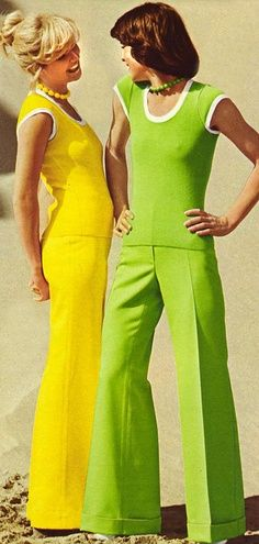 70s horror polyester monochrome pant sets
