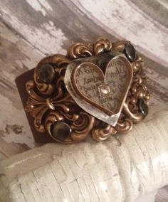 Filigree Antique Brass Heart Cuff
