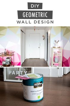 Thinking about giving your interior space a makeover? Take a look at this vibrant and modern DIY painted accent wall that the Little Miss Party team put together. They created this geometric accent wall with the BEHR® 2020 Color of the Year, Back to Nature, along with BEHR PREMIUM PLUS® Interior Paint in a variety of pink, purple, blue and green shades. Click below to see the before and after photos.