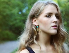 Turquoise and goldplated hoop earrings by Rosehip Jewelry on Etsy
