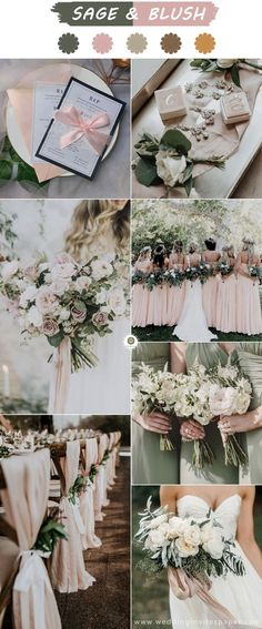 Top 6 Sage Green Weddings Color Palettes---SAGE & BLUSH, fall and winter weddings with elegant invitation. Top 6 Sage Green Weddings Color Palettes---SAGE & BLUSH, fall and winter weddings with elegant invitation. June Wedding Colors, Blush Wedding Colors, Blush Pink Weddings, Green Weddings, Winter Weddings, Wedding Themes, Wedding Ideas, Blush Winter Wedding, Summer Wedding