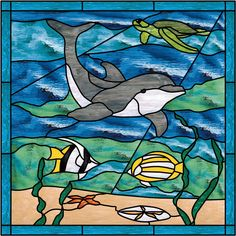 Stained Glass Ocean Scenes   Dolphin & Sea Turtle Stained Glass Window Panel