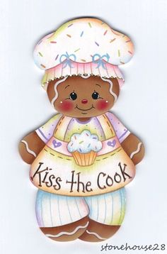 HP GINGERBREAD Kiss the Cook FRIDGE MAGNET #Handpainted