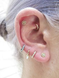 MARIA TASH Opal Eternity Ring Single Earring - Blackened Gold