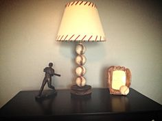 Vintage baseball nursery. Only with a burlap covered square lamp shade