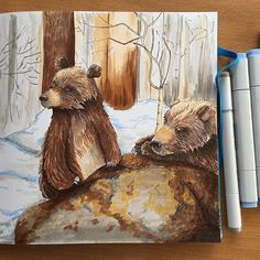 When you can\'t live without bears 🐻🐻#sketching #drawing #drawingeveryday #illustration #illustrationart #bears #grizzly #brown #forest #winter #copicsketch #copicmarkers #markerspro_maxgoodz #cansonpaper #cansonthewall #handmadesketchbook
