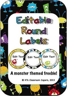 Here's a cute monster themed label making freebie for you!  Because sometimes its nice to have cute classroom decor that even the boys will love!  In this file, you'll find a total of 12 different labels with a cute and colorful monster theme. The frame backgrounds and clipart are locked down into a flattened image and saved in a Microsoft Word document (docx), with text boxes ready to type in, to allow