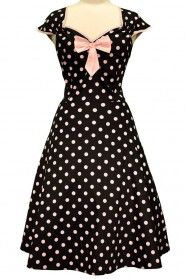 Lady V London Black and Pink Polka Dot Isabella Dress