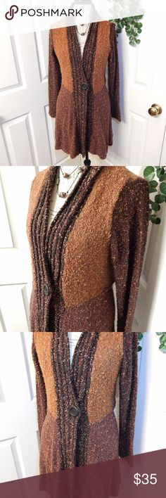 "Coldwater Creek Cardigan Sweater Size L 14-16 Gorgeous! Super soft & several shades of earthy color yarns. The yarns also have touches of rust red, gold & pumpkin colors throughout. Has 1 snap front closure (disguised by 1 decorative button) Fabric content incl in last pic. Chest measures apprx 21.5"" from underarm seams, stretchy & forgiving style. Length apprx 35"" from center front shoulder seam. I maybe wore once! Coldwater Creek Sweaters Cardigans"