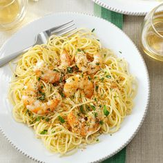 Need shrimp pasta recipes? Get shrimp pasta recipes for your next meal or dinner from Taste of Home. Taste of Home has shrimp pasta recipes including shrimp scampi pasta recipes, Cajun shrimp pasta recipes, and more shrimp pasta recipes and ideas. Shrimp Dishes, Fish Dishes, Shrimp Recipes, Pasta Dishes, Fish Recipes, Pasta Recipes, Cooking Recipes, Main Dishes, Easy Shrimp Scampi Recipe No Wine
