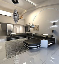 Modern U Shaped Sofa PRATO XXL With Lights | Ikuzo Sofa