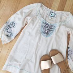 CHELSEA & VIOLET   Embroidered Blouse Blush/nude Chelsea & Violet blouse with pink, blue and black embroidery. Size M. NWOT - never worn and in perfect condition! No PP, trades, holds, or lowball offers. Happy poshing!  Chelsea & Violet Tops Blouses
