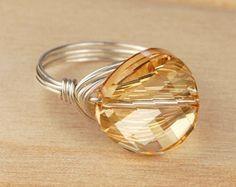 Perla anillo Sterling plata alambre relleno por SimplyCharmed21