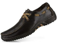 Genuine leather men flat shoes