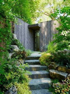An exterior shot of Mill Valley Cabins by Feldman Architecture. Garden Paths, Garden Landscaping, Landscaping Ideas, Shade Landscaping, Hillside Garden, Small Gardens, Outdoor Gardens, Landscape Architecture, Landscape Design