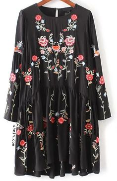 Bohemian style-Black flower embroidery keyhole pleated dress.