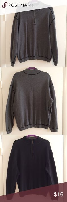 Reversible Quarter Zip Sweater Reversible 1/4 Zip Sweater Mock Neck Style One side is grey the other side is black There are no tags, so it doesn't say the size. It looks like a large. Great Condition! Sweaters