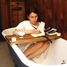 Wood Tub Caddy: Reclaimed Oak, cozy autumn/winter bath.
