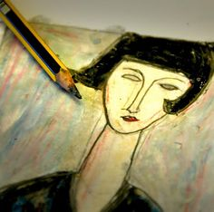 Modigliani's portraits are so characteristic that it is easy to copy them! Here is a simple technique with pencil, oil pastels and baby oil to imitate the unmistakable style of this artist. Oil Pastel Art, Oil Pastels, 7th Grade Art, School Art Projects, Middle School Art, Famous Art, Art Club, Art Plastique, Teaching Art