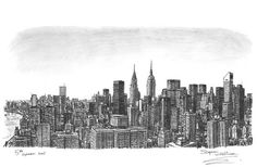 Manhattan Skyline - drawings and paintings by Stephen Wiltshire MBE: