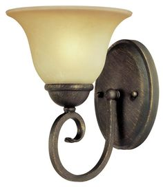 One-Light Indoor Wall Fixture, Ebony Bronze Finish with Aged Alabaster Glass