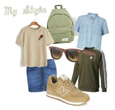 """""""my style"""" by carolijna ❤ liked on Polyvore featuring 3x1, Eastpak, Miss Selfridge, adidas, Ray-Ban and New Balance"""