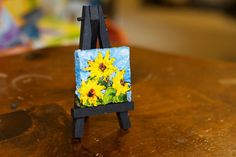 Mini Sunflowers with Easel 2x2 Inch Canvas by OriginalsbyParis