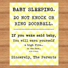 Clean image in printable baby sleeping sign front door