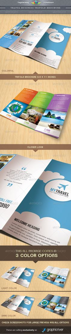 Travel Business Trifold Brochure Template Design Flyer Layout