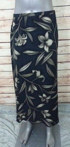 Jones New York straight silk skirt black floral print womens size 16 casual work #JonesNewYork #StraightPencil