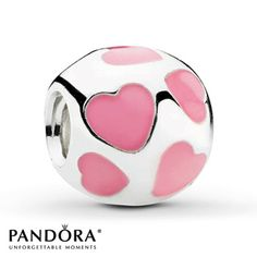 From the Pandora Moments Spring 2012 collection, this sterling silver charm features pink enamel hearts. Style # 790543EN28.