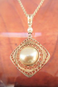 SOLD  $14.00  Sterling Vermeil Faux Pearl Pendant Necklace Beautifully Designed by feathersoup on Etsy