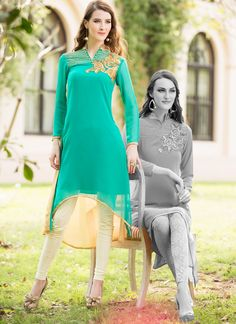 Fanciable Turquoise Georgette Designer Kurti