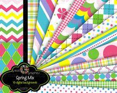 Spring Color Digital Paper digital backgrounds by GreatGraphics