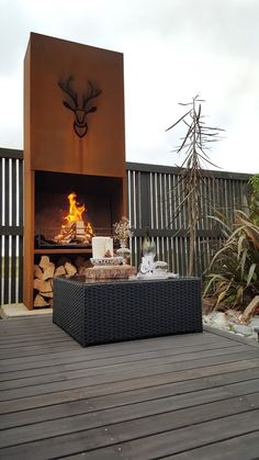 Rustic Outdoor Fire for sale on Trade Me, New Zealand's auction and classifieds website Modern Outdoor Fireplace, Metal Fireplace, Outdoor Fireplace Designs, Backyard Fireplace, Rustic Outdoor, Outdoor Pergola, Outdoor Rooms, Fire Pit Bbq, Metal Fire Pit
