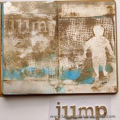 Jump Art Journaling page - Layers of Ink - I ran out of precut paper, just after I had applied new paint to the plate. Instead of cutting up new papers, I pressed my small Dylusions art journal into the paint. It just so happened that this ended up being one of my favourite prints.