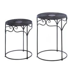 Home Locomotion Umber Wicker Round Nesting Tables