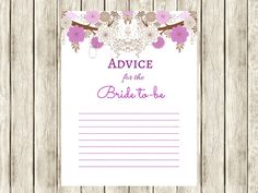 Purple Advice for Bride to be, bridal shower advice cards, advice cards, Bridal Shower activity, Printable Bridal advice card, Bridal, mason