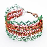 Christmas Crochet Wire Cuff Bracelet - Photo © Amy Solovay