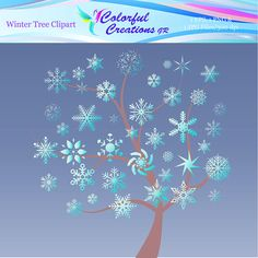 Winter Tree Clipart For Personal And Commercial Use Winter Clipart, Tree Clipart, Christmas Invitations, Winter Trees, Event Decor, Creative Ideas, Snowflakes, Craft Projects, Commercial