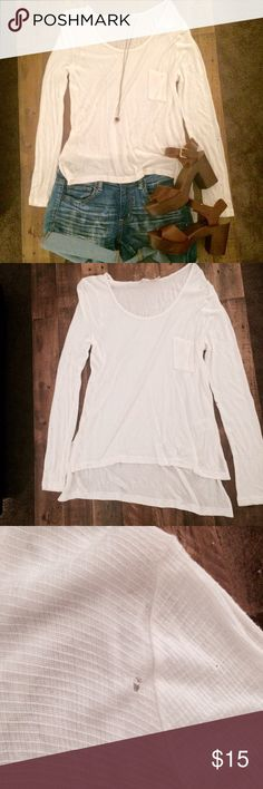 🌺3FOR$15🌺 ANTHROPOLOGIE Pilcro and the Letterpress semi-sheer white shirt. NWOT brand new never worn. Very soft and comfortable fit. Length in the back is a bit longer than the front. **Has a very small hole on the upper ride side near the chest / armpit. **Shirt is for sale only in this listing. Other items are for styling only. Anthropologie Tops Tees - Long Sleeve